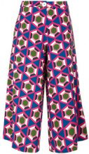 Pardens - Pantaloni crop stampati - women - Polyester/Spandex/Elastane - 42 - BLUE