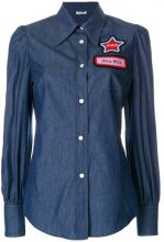Miu Miu - Camicia in denim 'Name Badge' - women - Cotton/Wool/glass - 40 - BLUE
