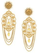 Dolce & Gabbana - filigree statement clip-on earrings - women - Brass/Crystal - OS - METALLIC