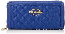Love Moschino Portafogli Quilted Nappa Pu Blu - Pochette da giorno Donna, (Blue), 3x10x20 cm (B x H T)