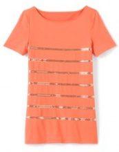 T-shirt con paillettes ricamate, scollo rotondo