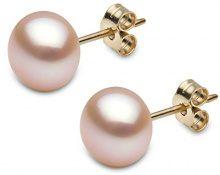 Kimura Pearls   18 carati  oro giallo Rotonda A bottone perla cinesa da coltivazione Rosa Perla