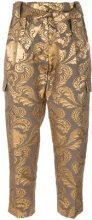 Christian Pellizzari - Pantaloni in tessuto jacquard - women - Silk/Polyester - 42 - BROWN