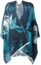 Ermanno Gallamini - floral print cape - women - Linen/Flax/Viscose/Polyamide - OS - BLUE