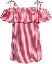 Blusa a righe con scollo a barca (Rosso) - BODYFLIRT