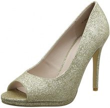 New LookWide Foot Sparkle - Peep Toe Donna, Oro (Gold (Gold)), 38