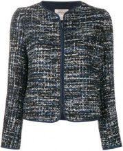 Armani Collezioni - Giacca tweed con zip - women - Polyester/Spandex/Elastane - 48 - Blu