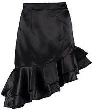 Milly Matte Satin Drop Ruffle Hem Midi Skirt