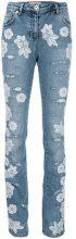 Blumarine - Italian lace appliqué jeans - women - Cotton/Polyamide/Polyester/Spandex/Elastane - 40 - BLUE