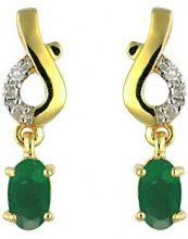 Ivy Gems Donna  9 carati  oro giallo Ovale   verde Smeraldo Diamante FINEEARRING