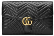 Gucci - Borsa clutch 'GG Marmont' - women - Calf Leather - One Size - BLACK
