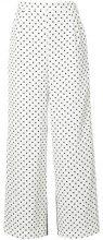 Han Ahn Soon - flared polka dot trousers - women - Polyester/Cupro - OS - WHITE