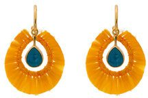 Katerina Makriyianni - Yellow fringed gold vermeil apatite earrings - women - Rayon/Sterling Silver/24kt Gold Vermeil - OS - YELLOW & ORANGE
