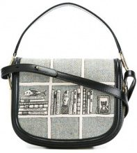 Olympia Le-Tan - printed hobo crossbody bag - women - Calf Leather/Wool - OS - GREY