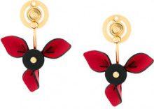 Marni - Orecchini motivo petali - women - Calf Leather/Brass - One Size - METALLIC