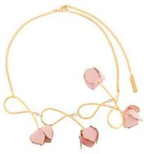 Marni - Collana con fiori - women - Brass - One Size - PINK & PURPLE