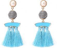 Orecchini con perle di plastica e nappe