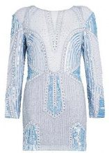 Premium Lizzie Sheer Plunge Shoulder Pad Embellished Dress