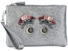 Anya Hindmarch - Pochette con occhi in cristallo - women - Leather/metal/glass - OS - GREY