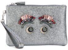 Anya Hindmarch - Pochette con occhi in cristallo - women - Leather/metal/glass - OS - GREY
