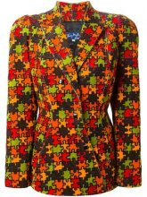 Thierry Mugler Vintage - corduroy jigsaw print blazer - women - Cotton/Acetate - 42 - YELLOW & ORANGE