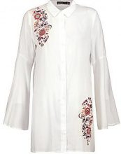 Petite Keely Embroidered Flute Sleeve Shirt Dress