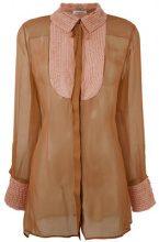 Valentino - Camicia semi trasparente - women - Silk/Cotton/Polyamide - 42 - BROWN