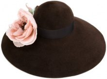 Gucci - Cappello a falda larga 'Corsage' - women - Silk/Cotton/Viscose/Rabbit Fur Felt - L, S, M - BROWN