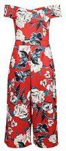 Kaila tutina intera rossa a motivi floreali con scollo bardot e culotte