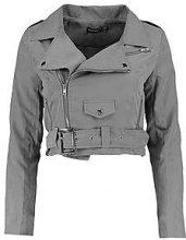 Petite scarlett giacca in stile motociclista in camoscio sintetico con cintura
