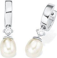 Amor   925  argento Rotonda Rotonda Perle coltivate d'acqua dolce bianco Zirconia cubica