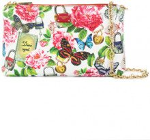 Dolce & Gabbana - secret butterfly print chain clutch - women - Calf Leather - One Size - WHITE