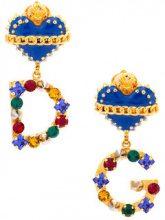 Dolce & Gabbana - Sacred Heart logo earrings - women - Crystal/Brass/zamac - OS - BLUE