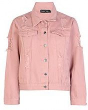 Petite Shelby Extreme Distressed Denim Jacket