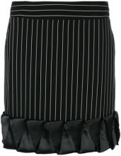 Giorgio Armani Vintage - striped mini skirt - women - Polyester/Cupro/Polyurethane - 42 - BLACK