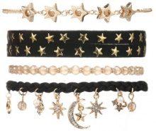 Set di 4 bracciali con stelle & luna