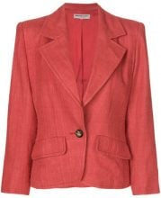 Yves Saint Laurent Vintage - structured distressed blazer - women - Polyester/Wool - 42 - RED