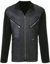 Issey Miyake Vintage - panelled quilted jacket - men - Nylon/Polyester/Wool - L - BLACK