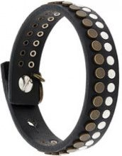 Diesel - Bracciale 'A-Jasminne' - women - Calf Leather/Brass - OS - Nero