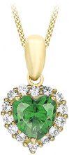 Carissima Gold Collana con Pendente da Donna in Oro Giallo 9K con Ossido di Zirconio Verde