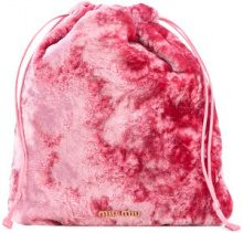 Miu Miu - Clutch con chiusura a cordoncino - women - Cotton - OS - PINK & PURPLE