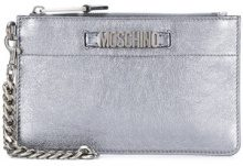 Moschino - logo plaque clutch bag - women - Leather - OS - METALLIC