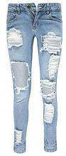 Ria jeans taglio maschile a vita bassa effetto consumato
