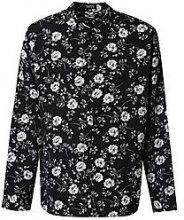 Big And Tall Mono Floral Long Sleeve Shirt