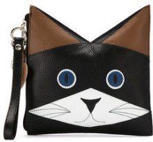 Sarah Chofakian - cat clutch - women - Goat Skin - OS - BLACK