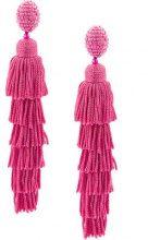 Oscar de la Renta - multi tiered tassel earrings - women - Silk/Brass/glass/Nylon - One Size - PINK & PURPLE
