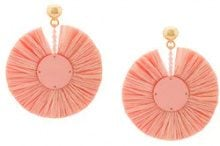 Oscar de la Renta - small raffia disk pierced earrings - women - Raffia/Plastic/Brass - OS - Rosa & viola