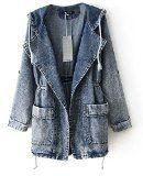 Minetom Donna Moda Giacca Jeans Con Cappuccio Cardigan Capispalla Trench Coat
