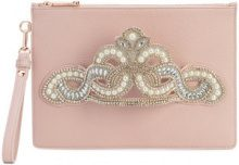 Sophia Webster - embellished hand strap clutch - women - Calf Leather - OS - PINK & PURPLE