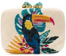 Aranaz - Toco clutch - women - Raffia/Cotton/Sequin/Turquoise - OS - NUDE & NEUTRALS